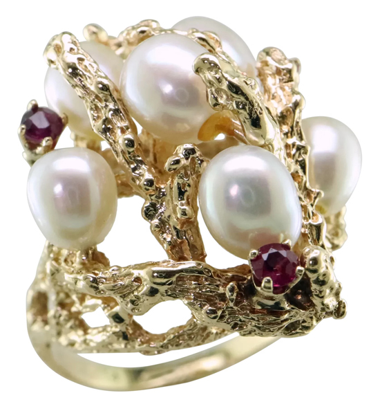 Vintage Cultured Pearl + Ruby Ring