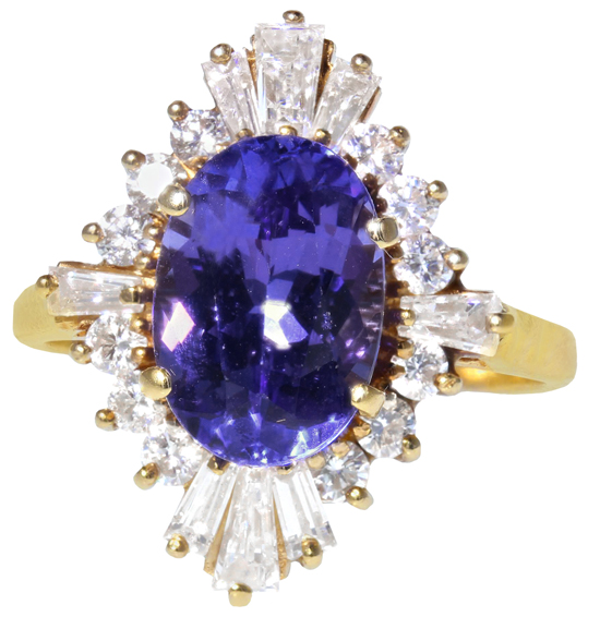 Vintage Tanzanite & Diamond Ring