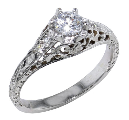 14kw Filigree Engagement Ring