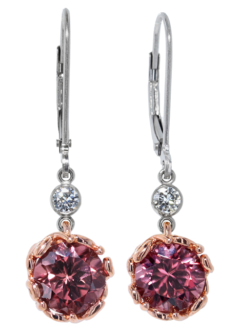 Pink Zircon + Diamond Earrings