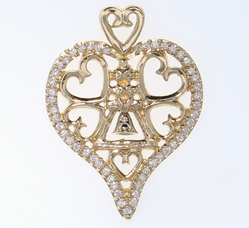 Medium Diamond Heart Raincross Pendant
