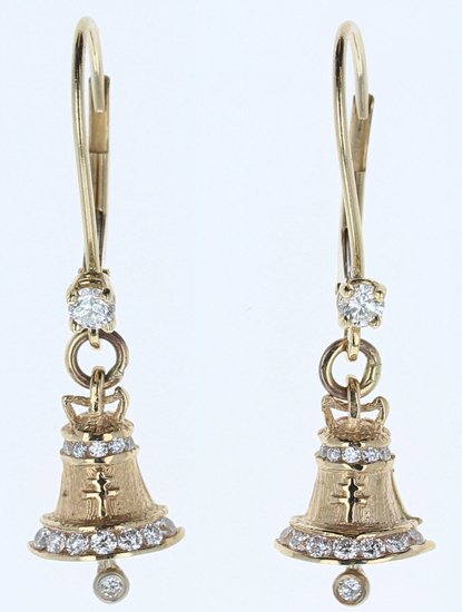 Diamond Mission Bell Raincross Leverback Earrings