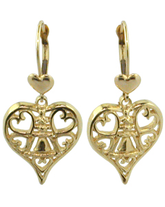 Small Heart of Riverside Raincross Leverback Earrings